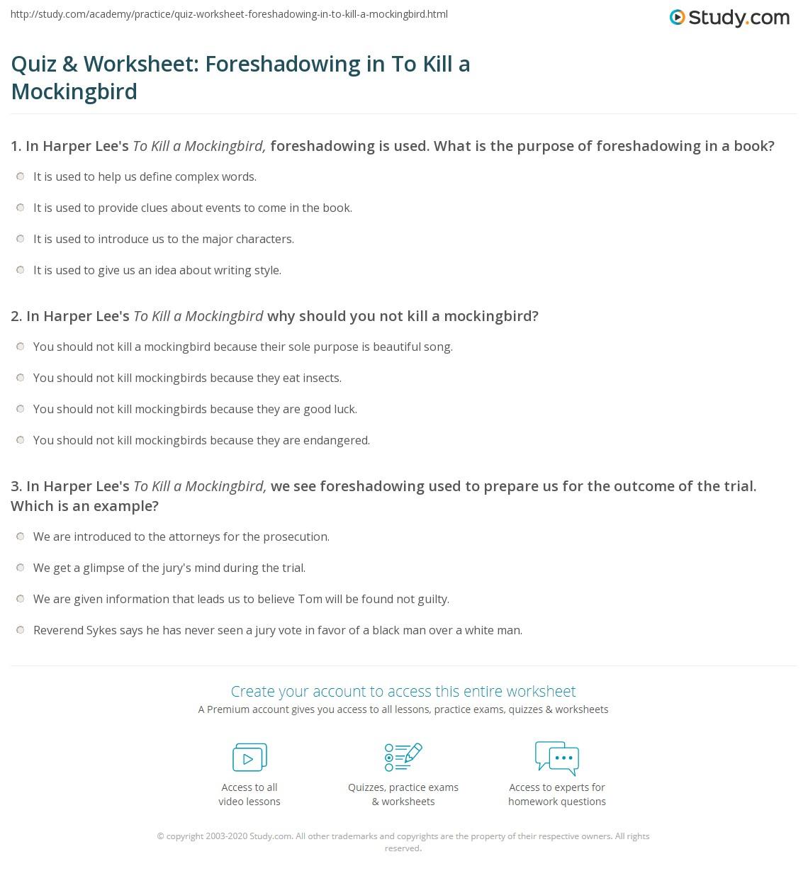 Quiz Amp Worksheet Foreshadowing In To Kill A Mockingbird