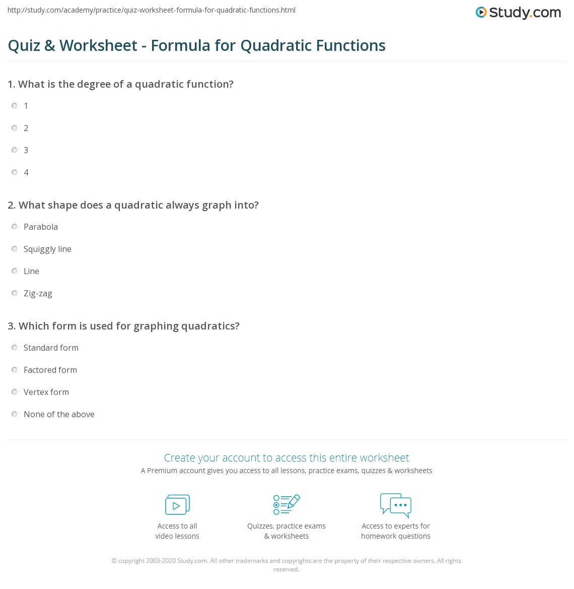 Worksheet Graphing Quadratic Functions In Standard Form