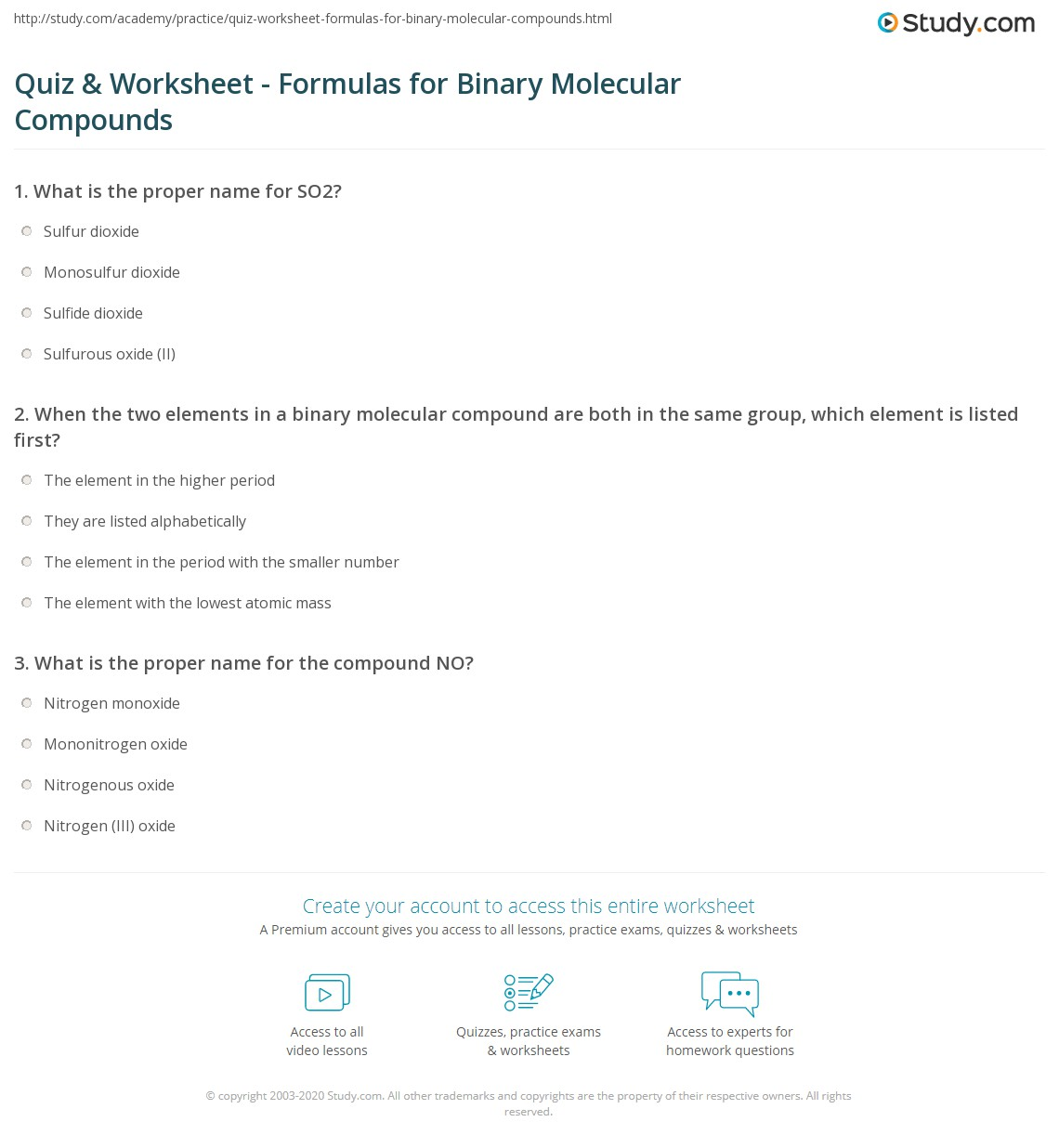Molecular Compounds Practice Worksheet Answers
