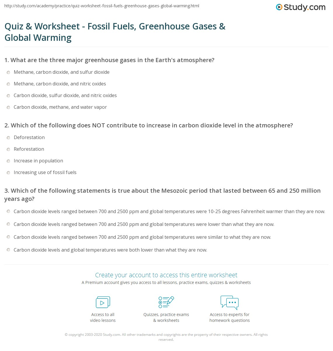 The Greenhouse Effect Worksheet Answers