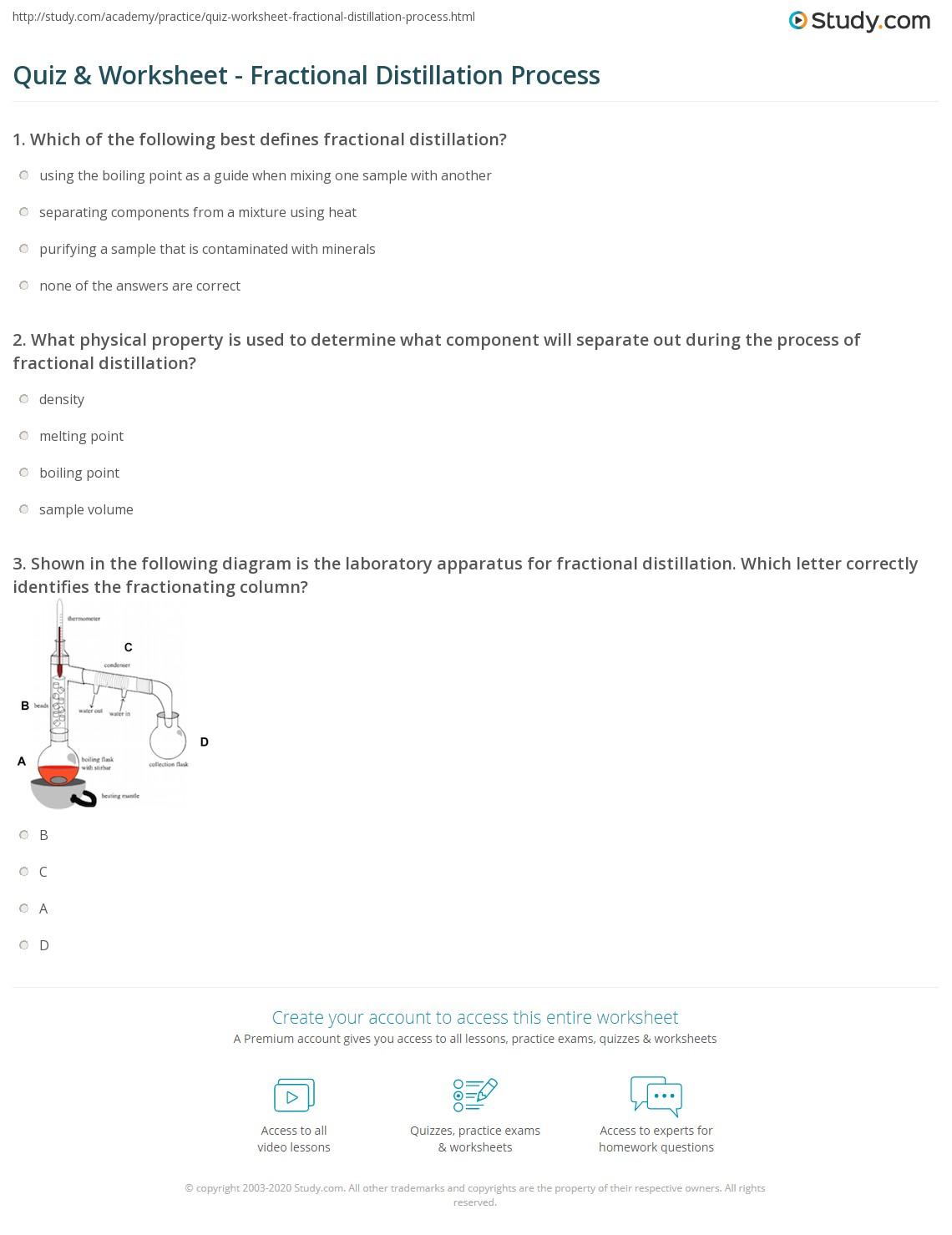 Distillation Worksheet Year 7