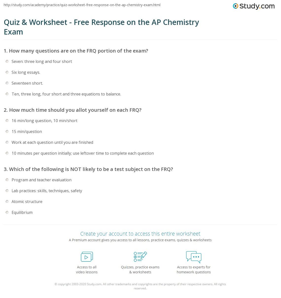 Ap Chemistry Equations Sheet