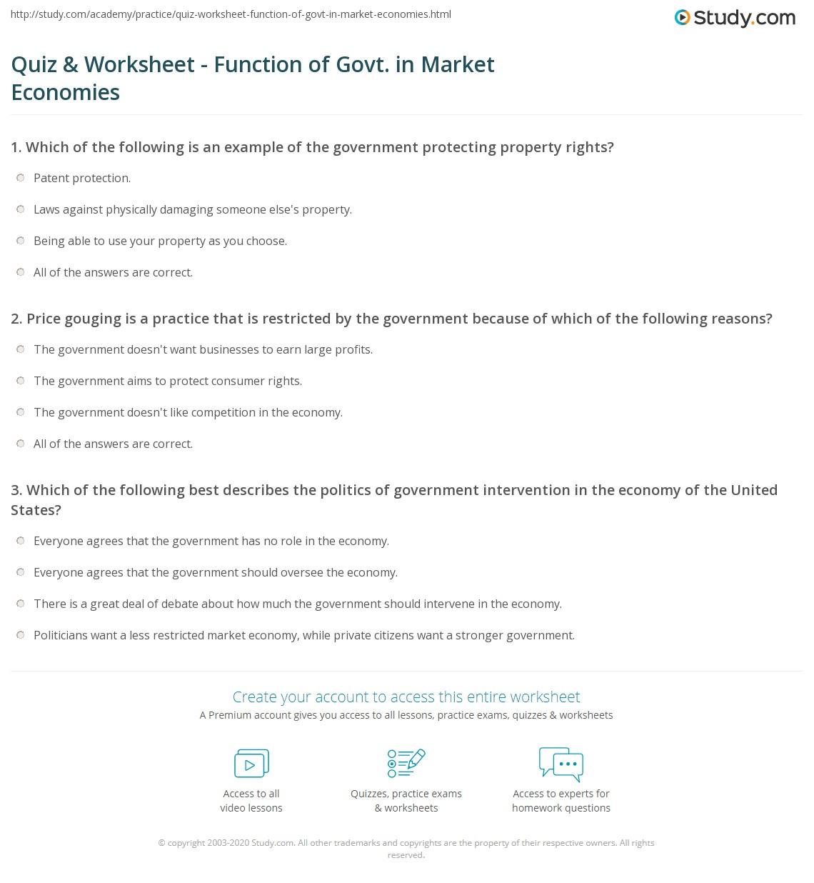 Market Economy Worksheet On