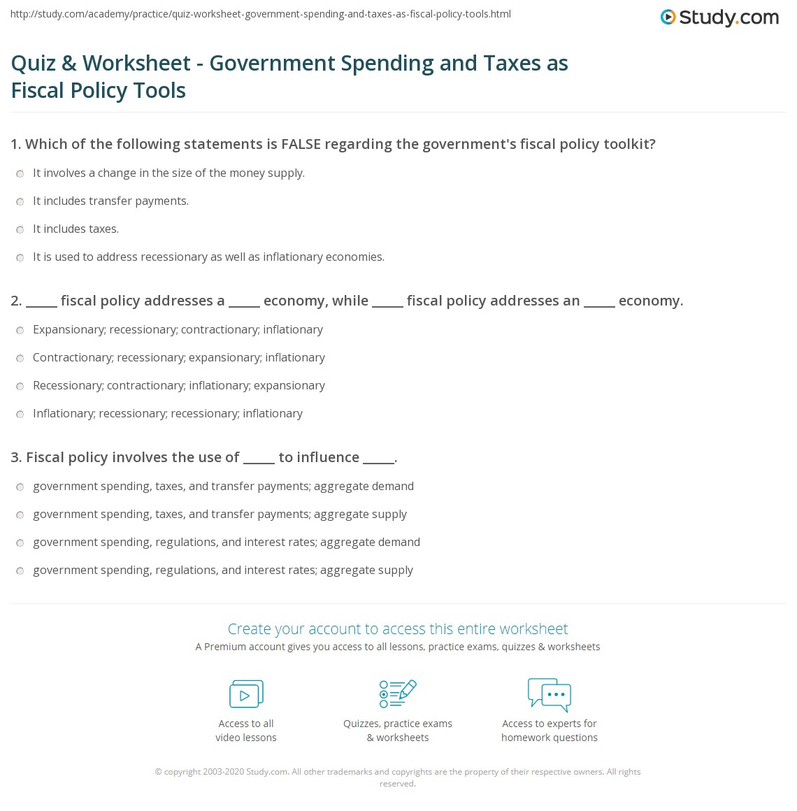 27 Government Spending Worksheet Answers