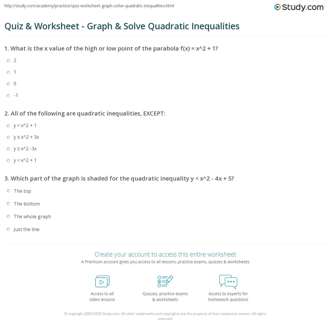 Solving Quadratic Inequalities Worksheet Answers