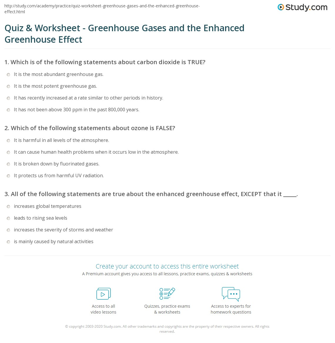 Greenhouse Effect Worksheet Worksheets Tutsstar
