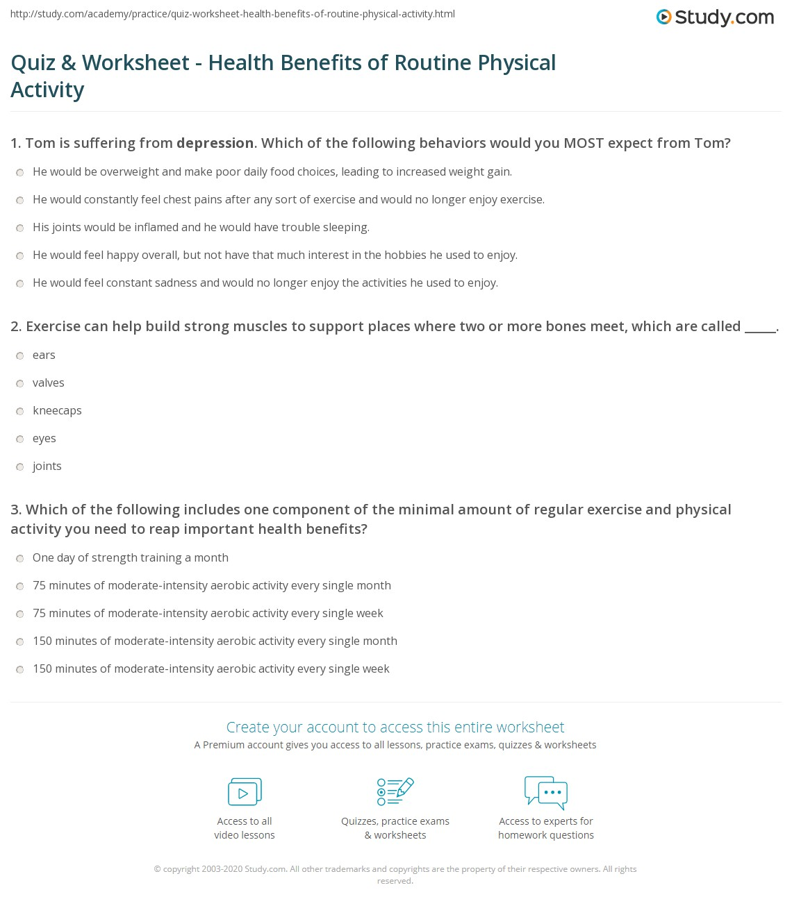 Nutrition And Mental Health Worksheets