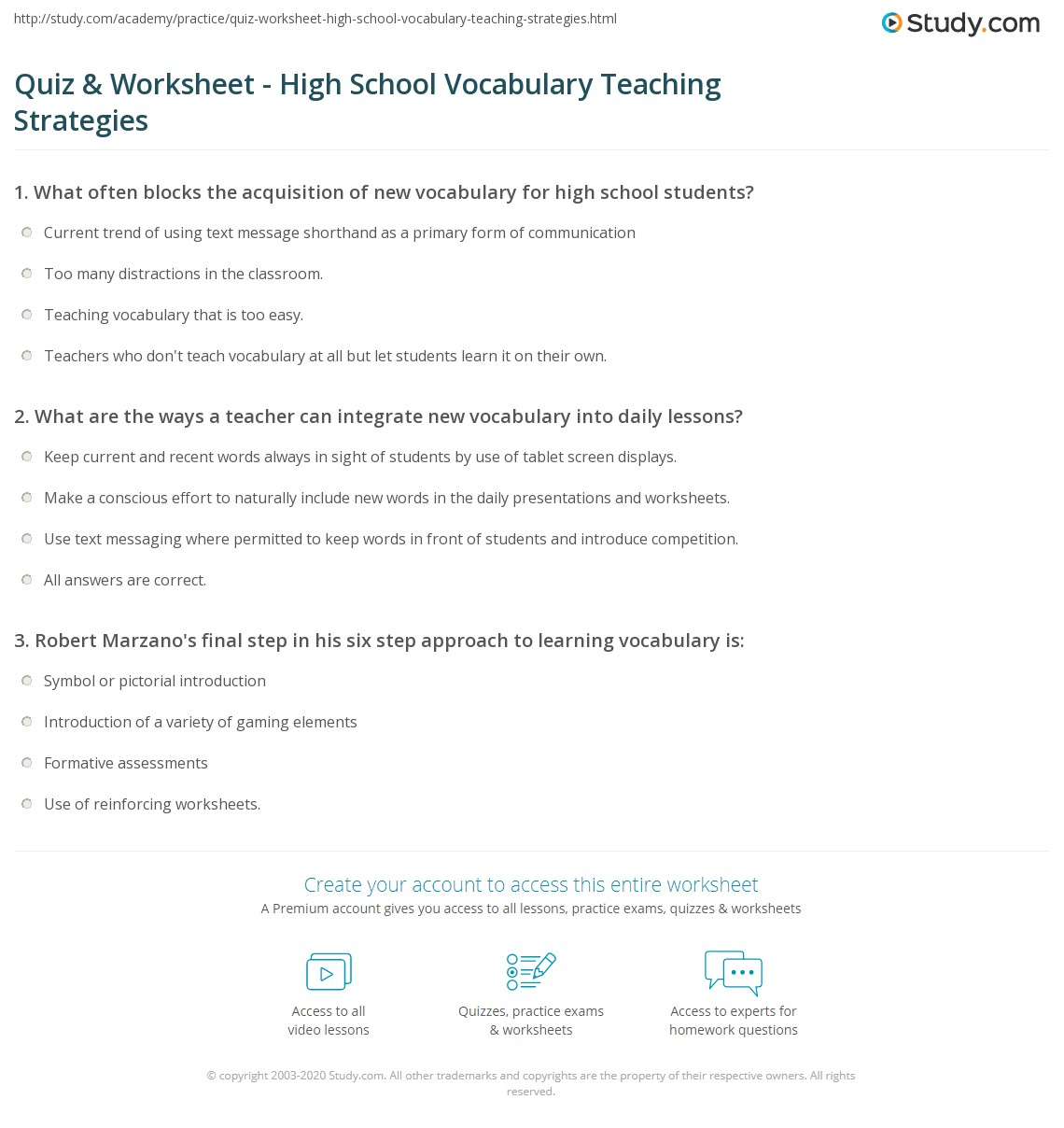 Reading Vocabulary Worksheet High School