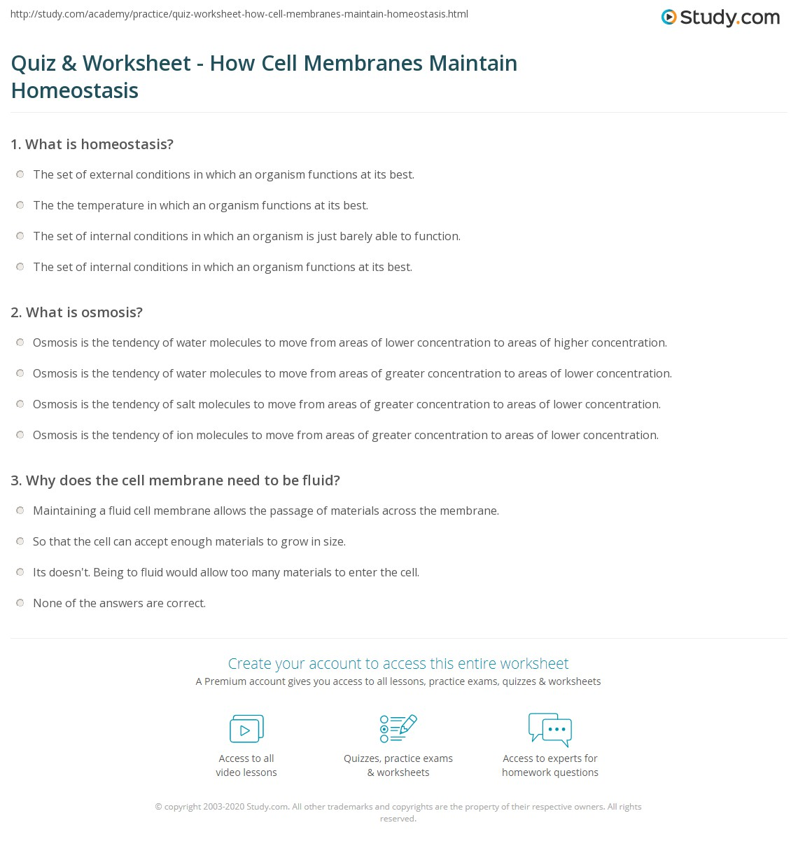 33 Homeostasis And Cell Transport Worksheet Answers