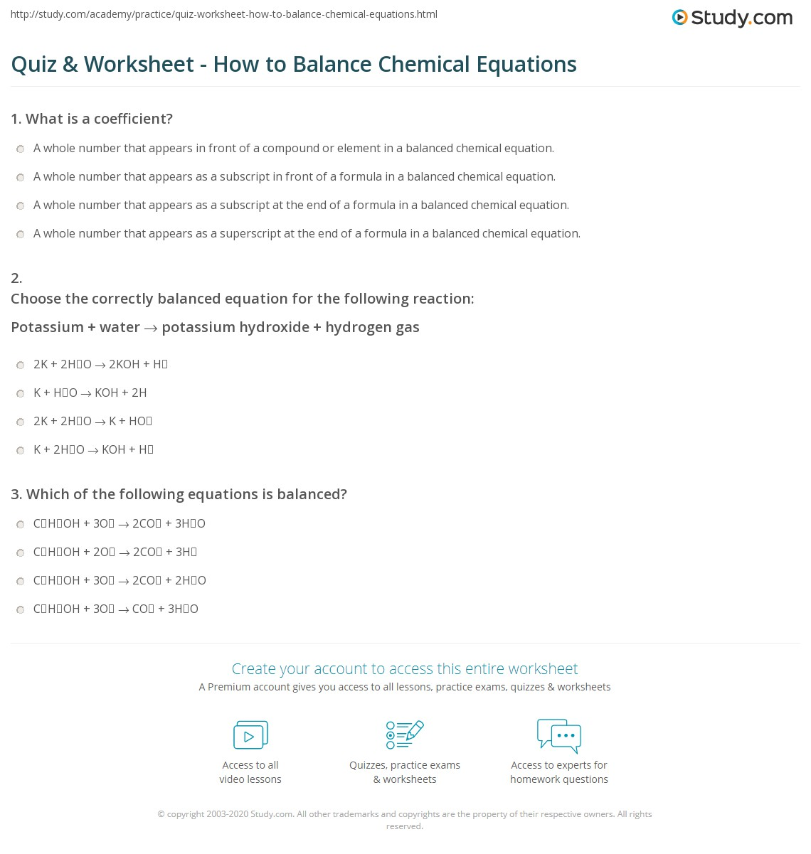Chemistry Math Problems Worksheets