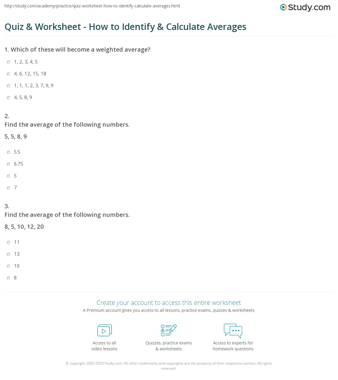Weighted Average Worksheet