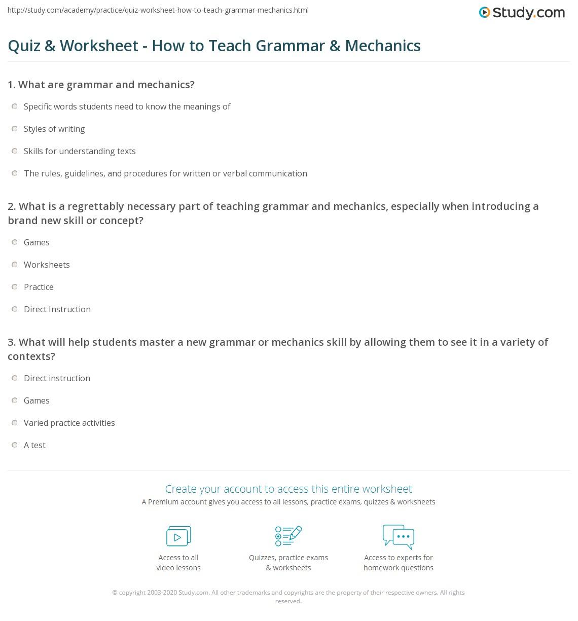 Grammar Mechanics Worksheets Printable Worksheets And