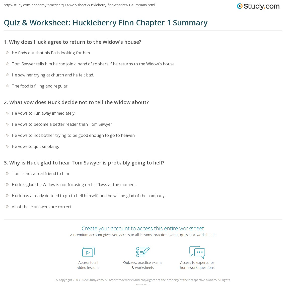 Quiz Amp Worksheet Huckleberry Finn Chapter 1 Summary