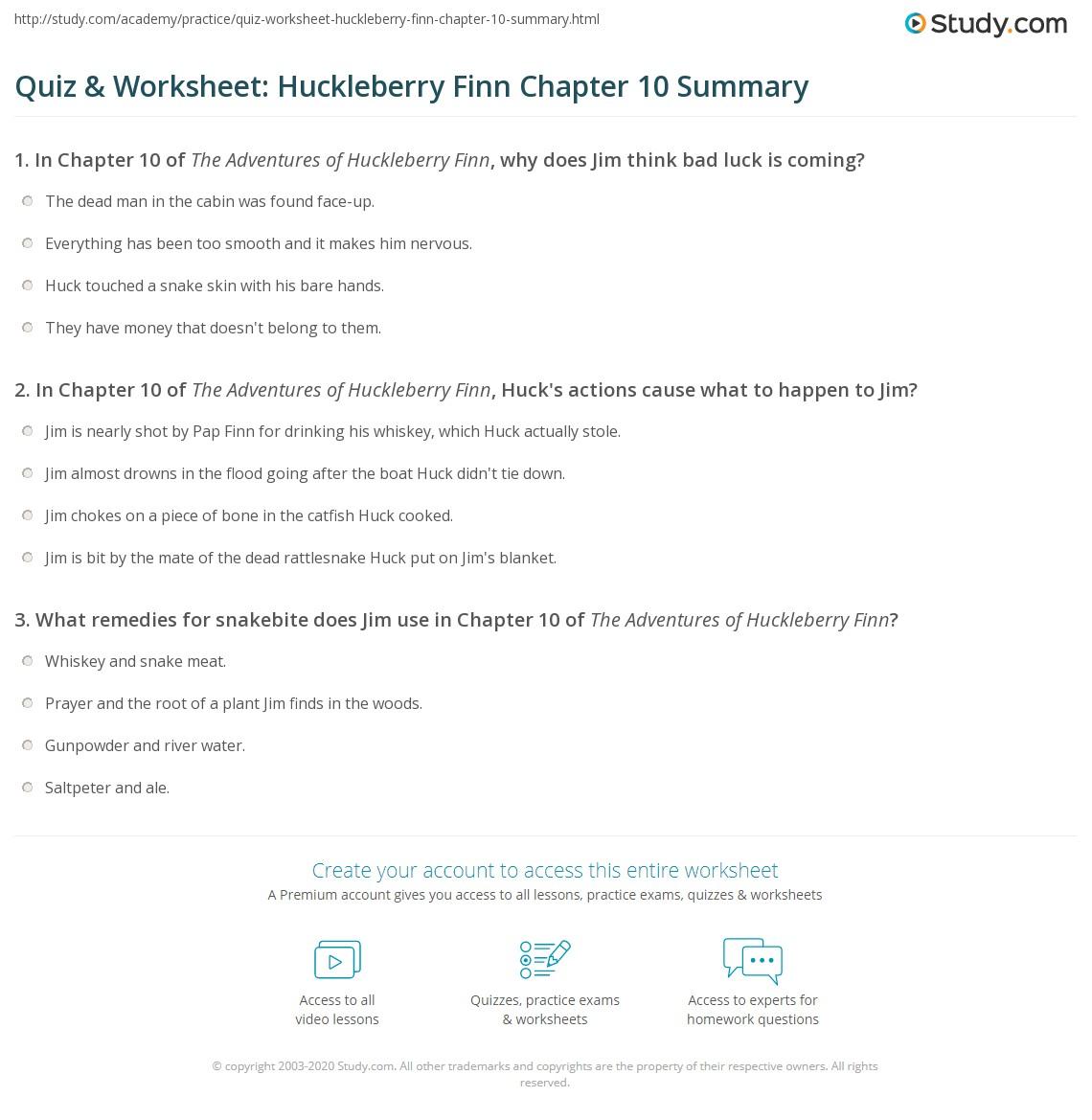 Quiz Amp Worksheet Huckleberry Finn Chapter 10 Summary