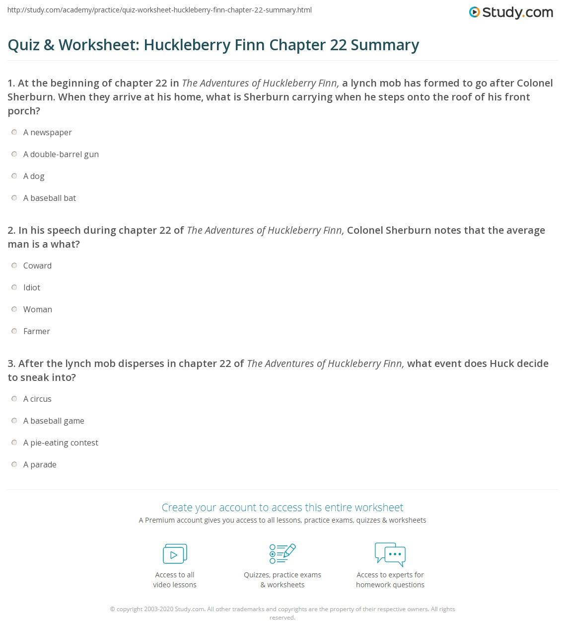 Quiz Amp Worksheet Huckleberry Finn Chapter 22 Summary
