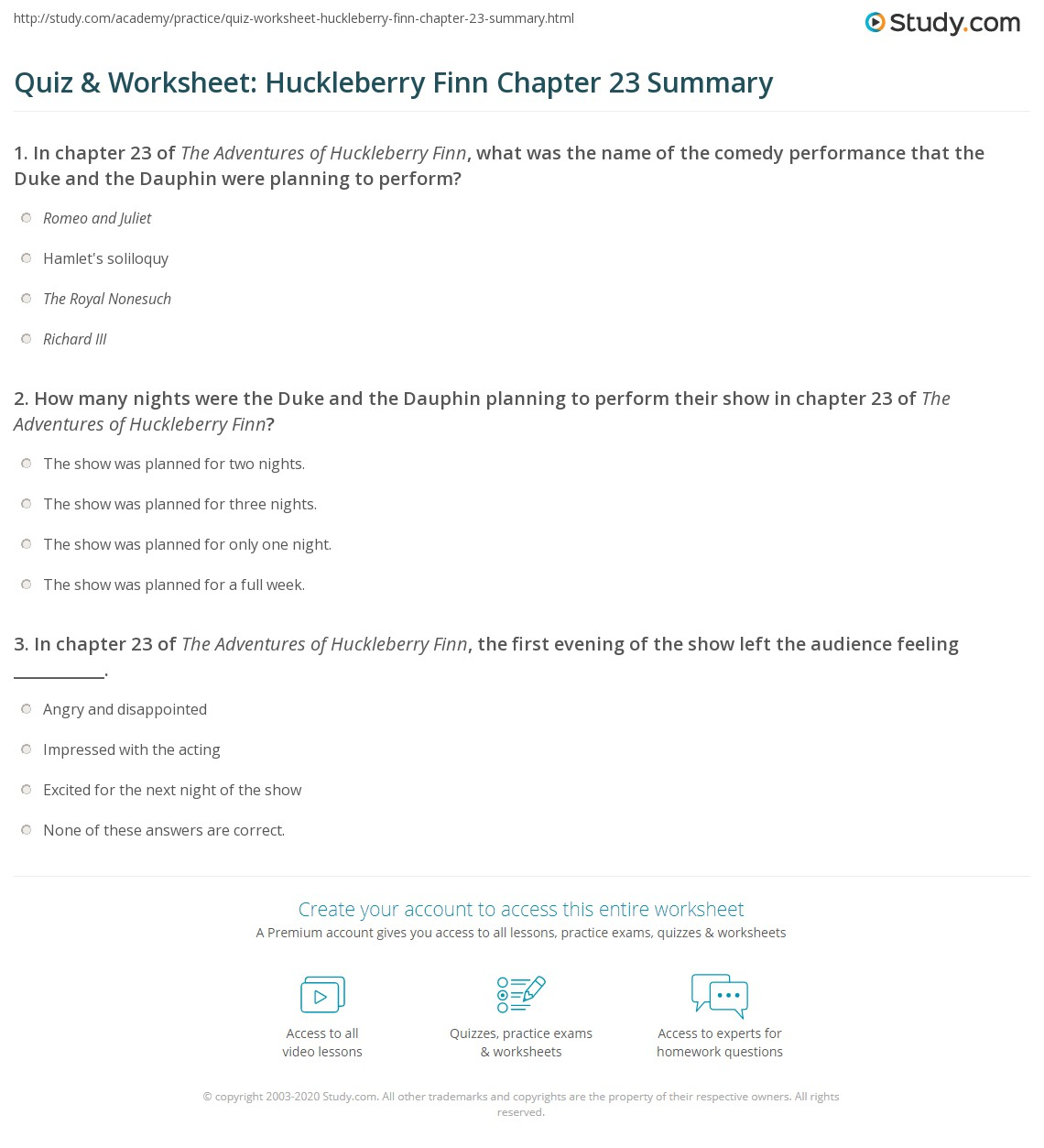 Quiz Amp Worksheet Huckleberry Finn Chapter 23 Summary