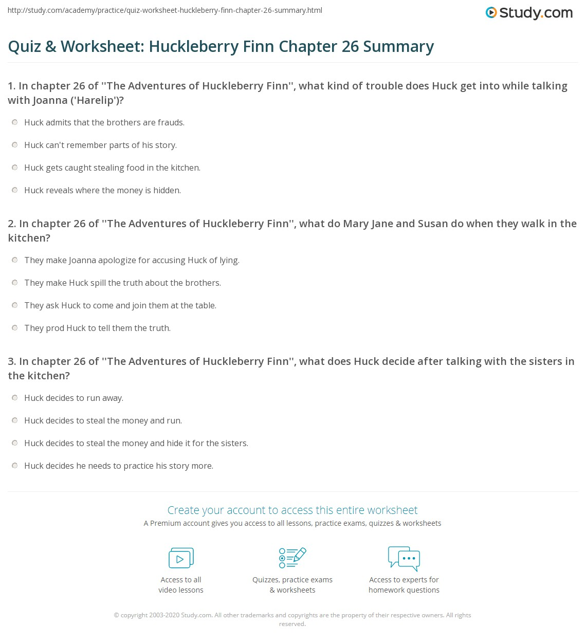 Quiz Amp Worksheet Huckleberry Finn Chapter 26 Summary