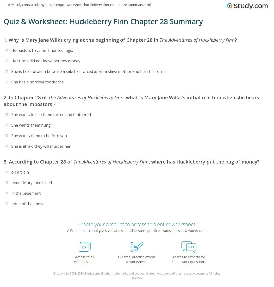 Quiz Amp Worksheet Huckleberry Finn Chapter 28 Summary