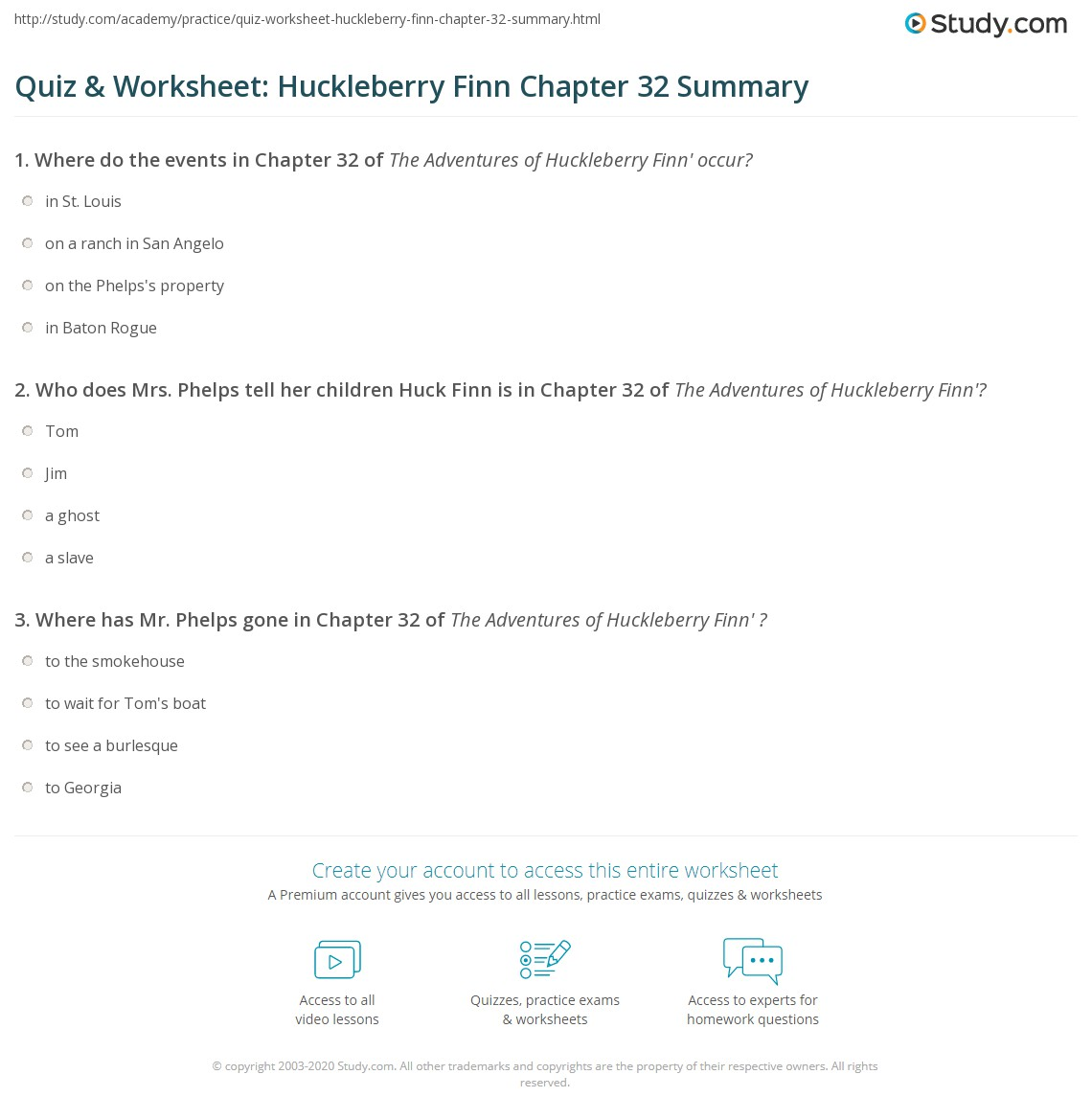 Quiz Amp Worksheet Huckleberry Finn Chapter 32 Summary