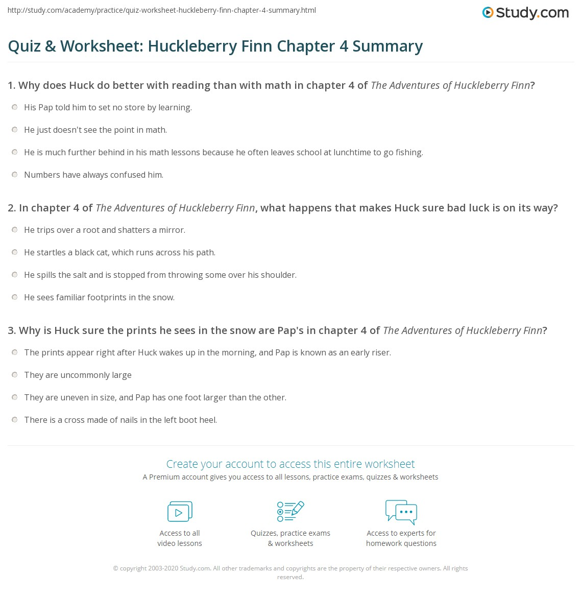Quiz Amp Worksheet Huckleberry Finn Chapter 4 Summary