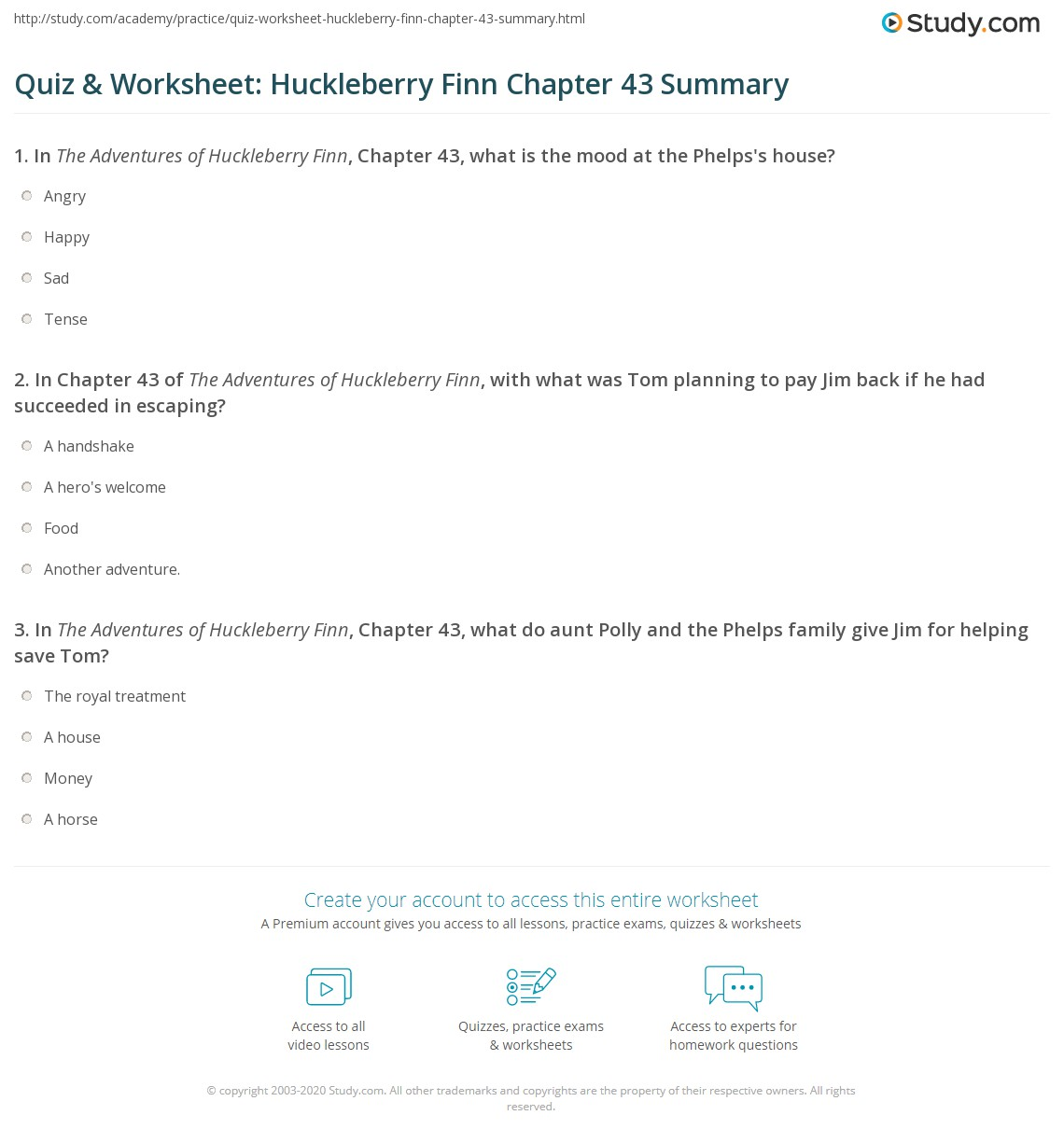 Quiz Amp Worksheet Huckleberry Finn Chapter 43 Summary