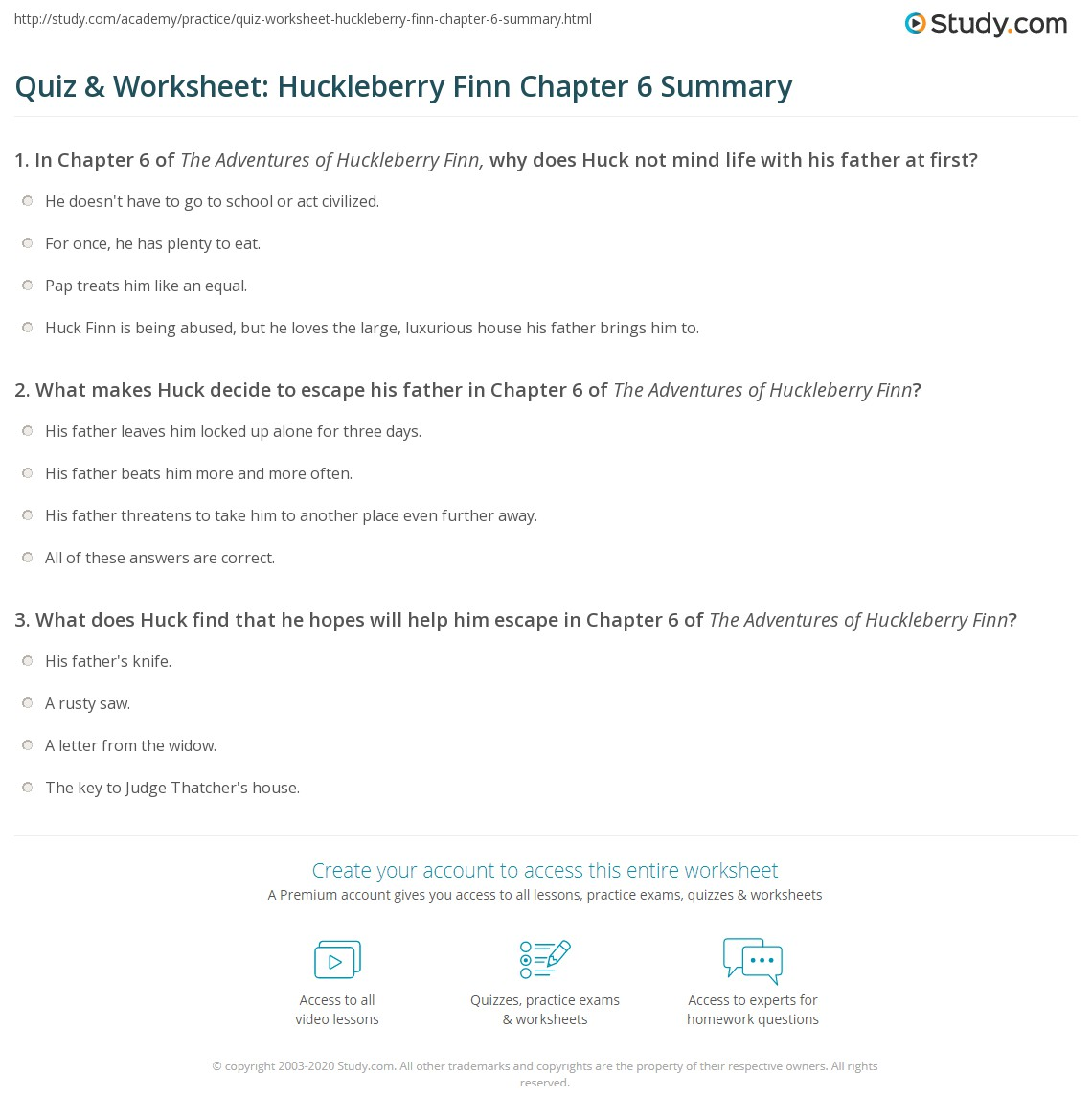Quiz Amp Worksheet Huckleberry Finn Chapter 6 Summary