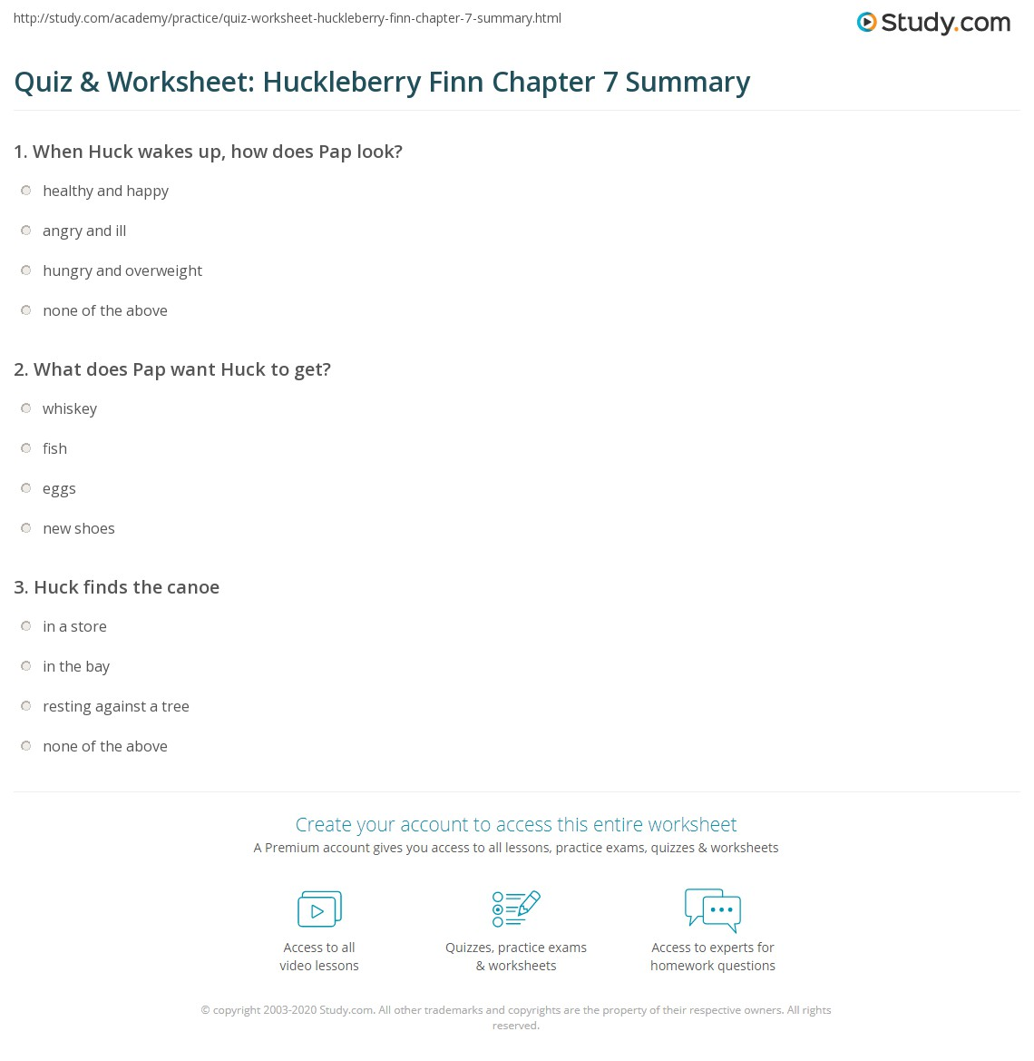 Quiz Amp Worksheet Huckleberry Finn Chapter 7 Summary