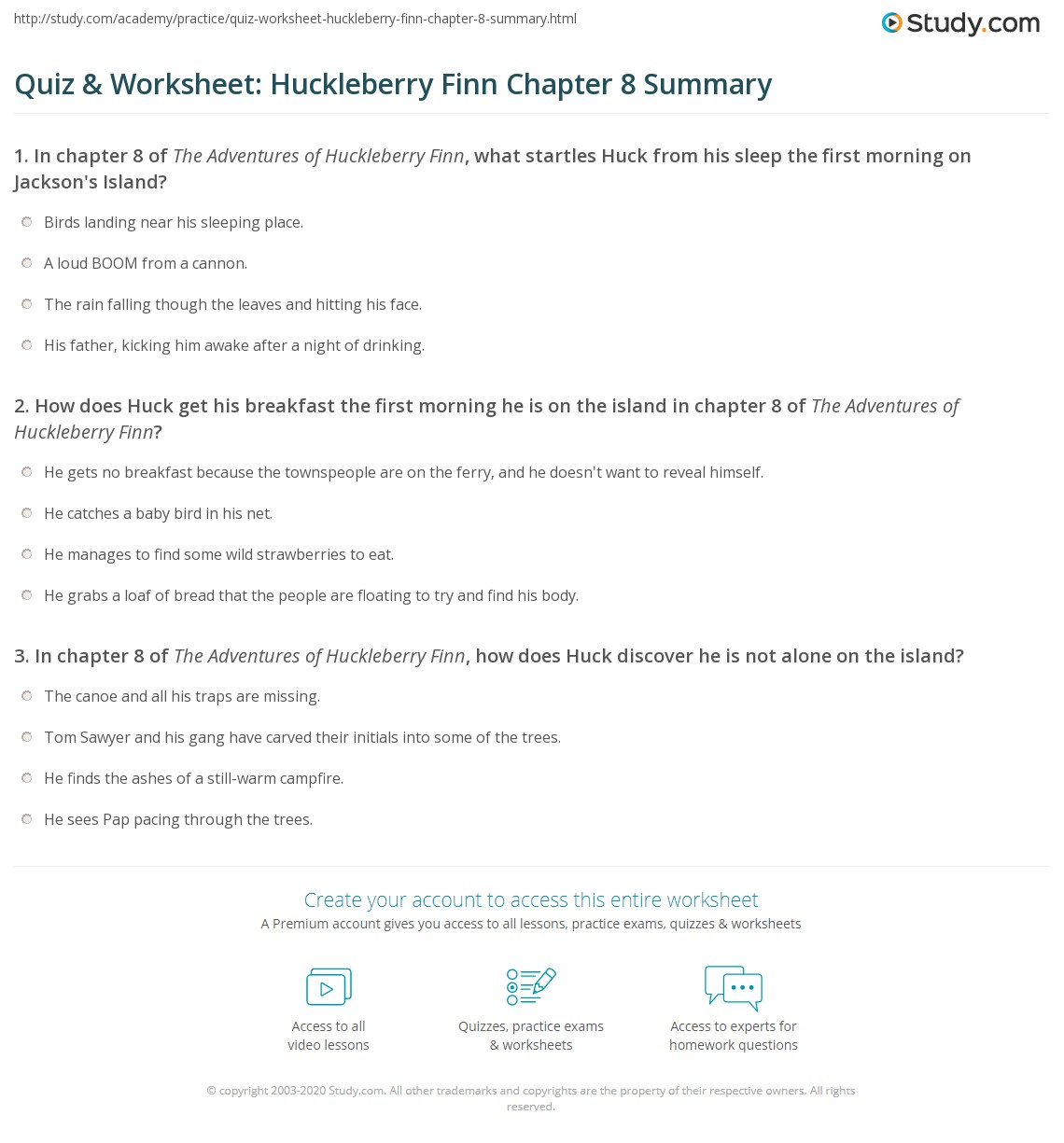 Quiz Amp Worksheet Huckleberry Finn Chapter 8 Summary