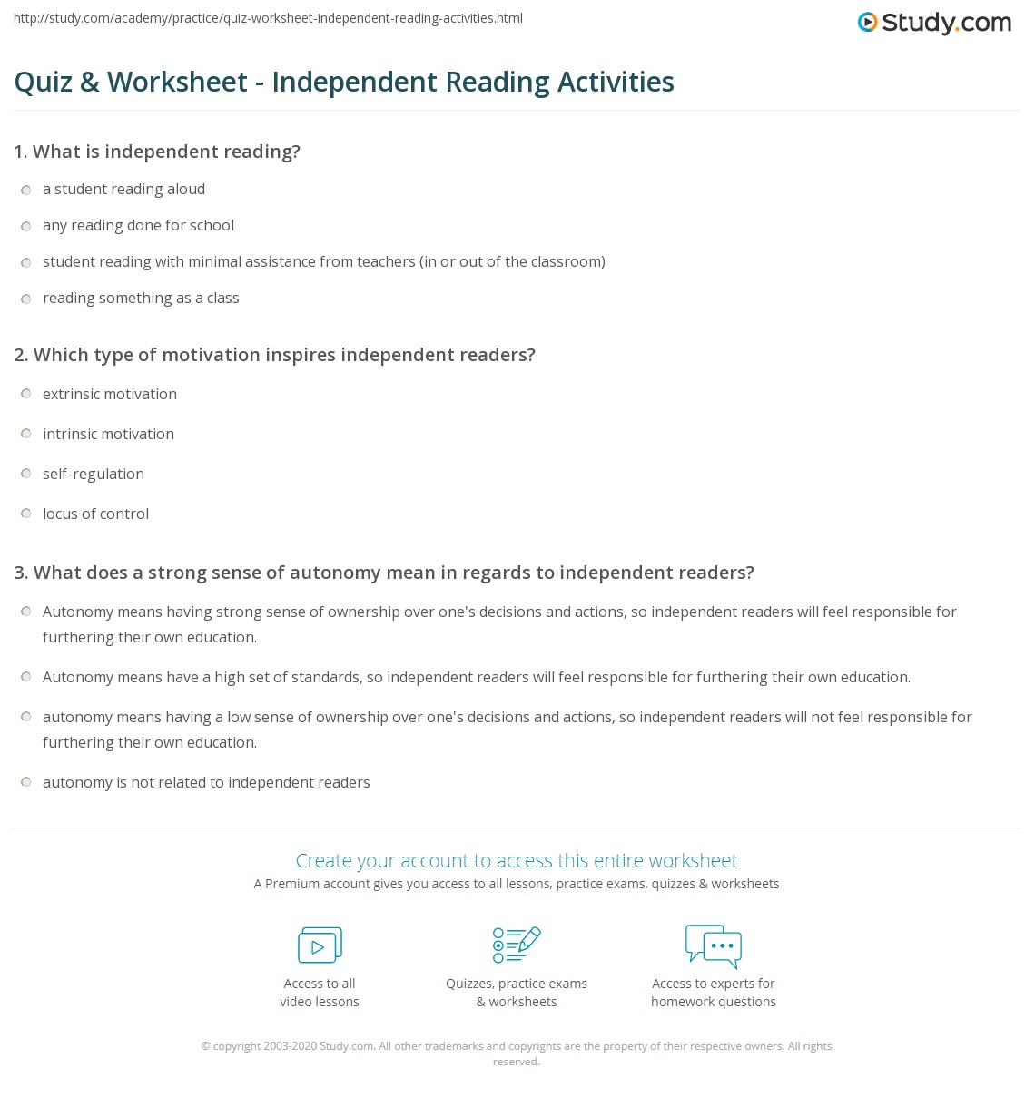 Independent Reading Worksheet