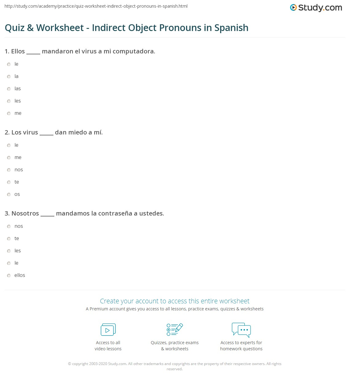 Direct And Indirect Object Pronouns Spanish Worksheet