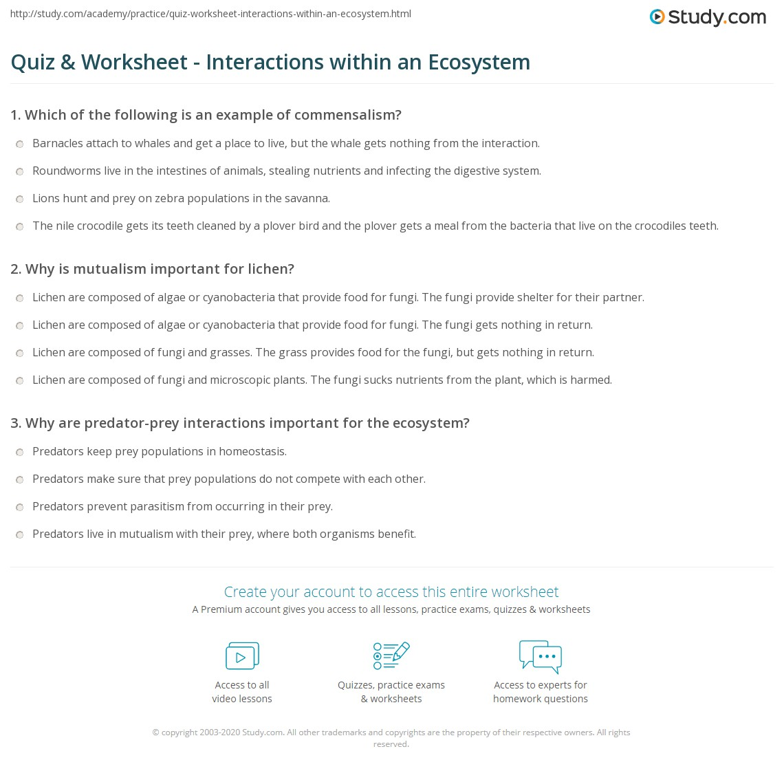 Interactions In Ecosystems Worksheet