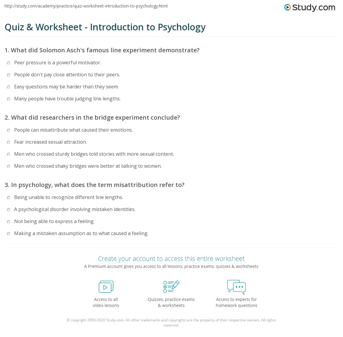 Introduction To Psychology Assignments Introduction To