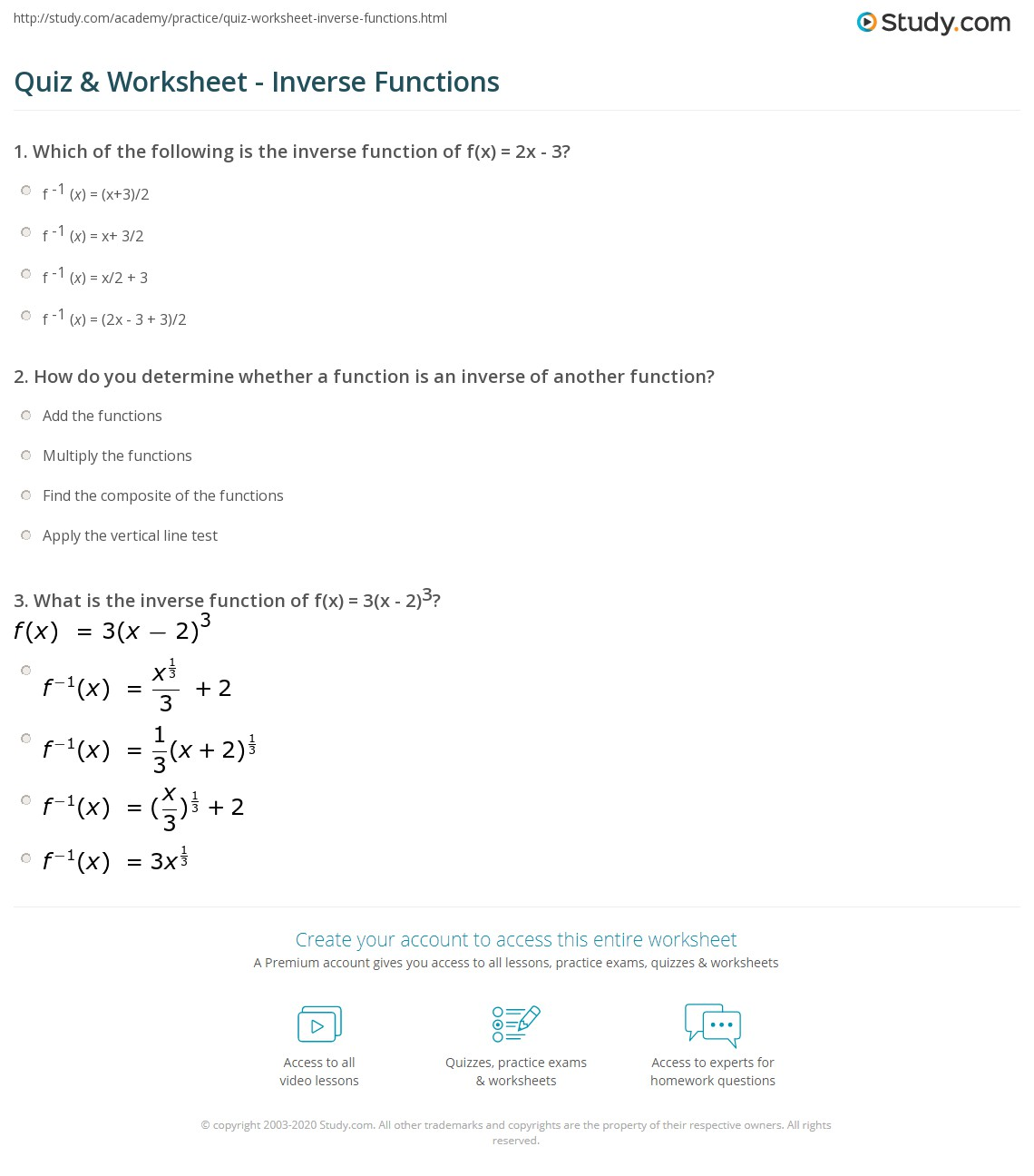 Printables Inverse Functions Worksheet Messygracebook