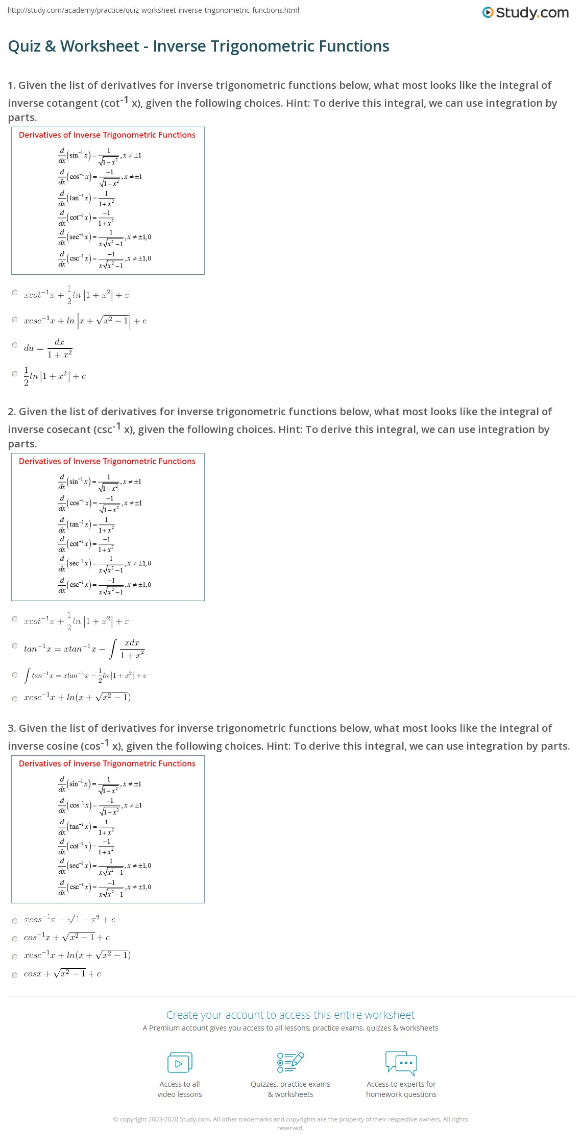 Inverse Trig Functions Worksheet With Solutions