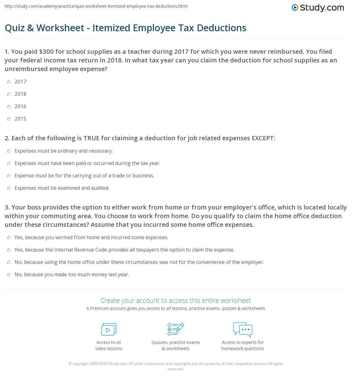 Itemized Deductions Worksheet Printable Chiropractor