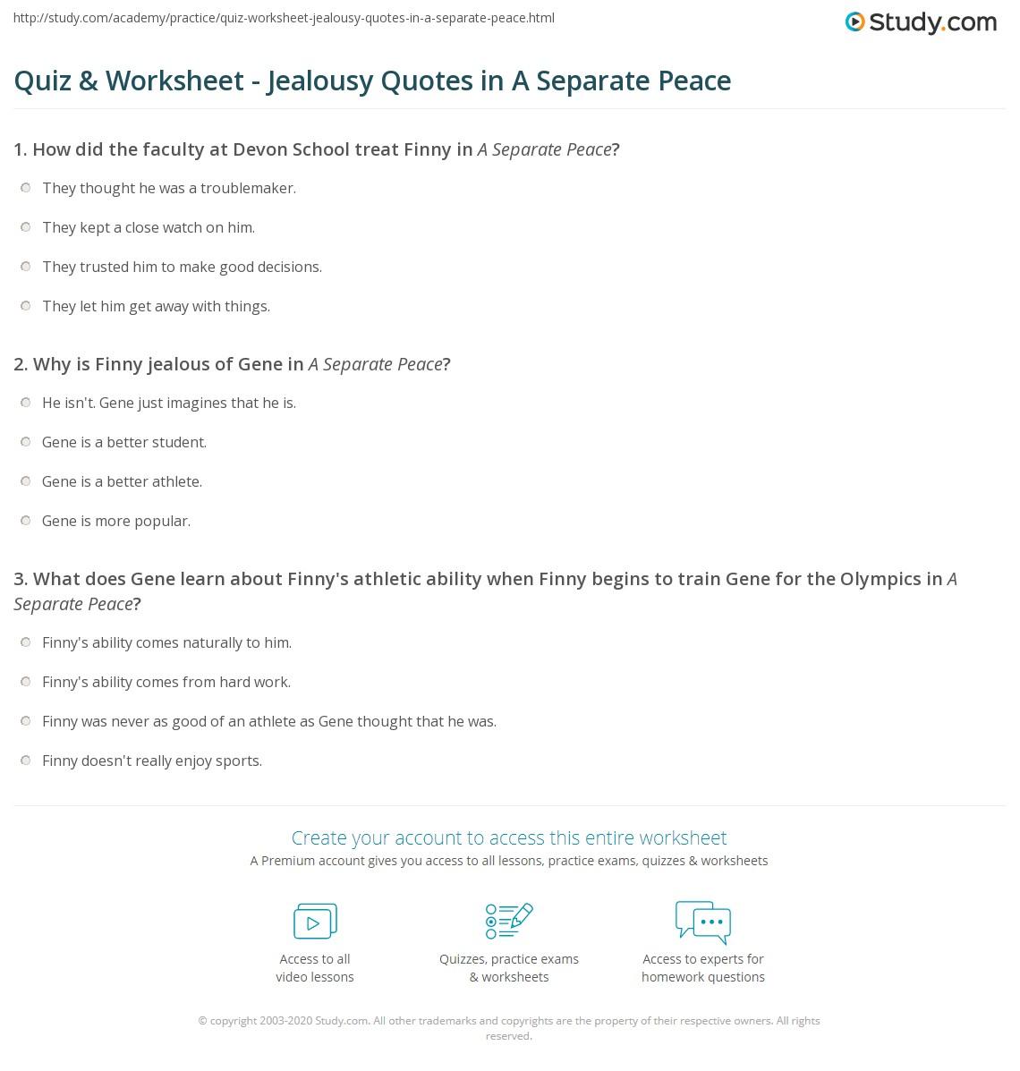 Separate Peace Essays Jealousy