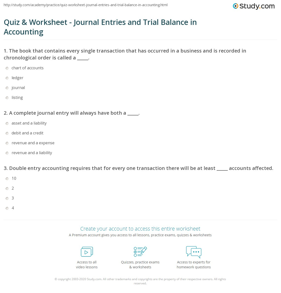 Double Entry Worksheet
