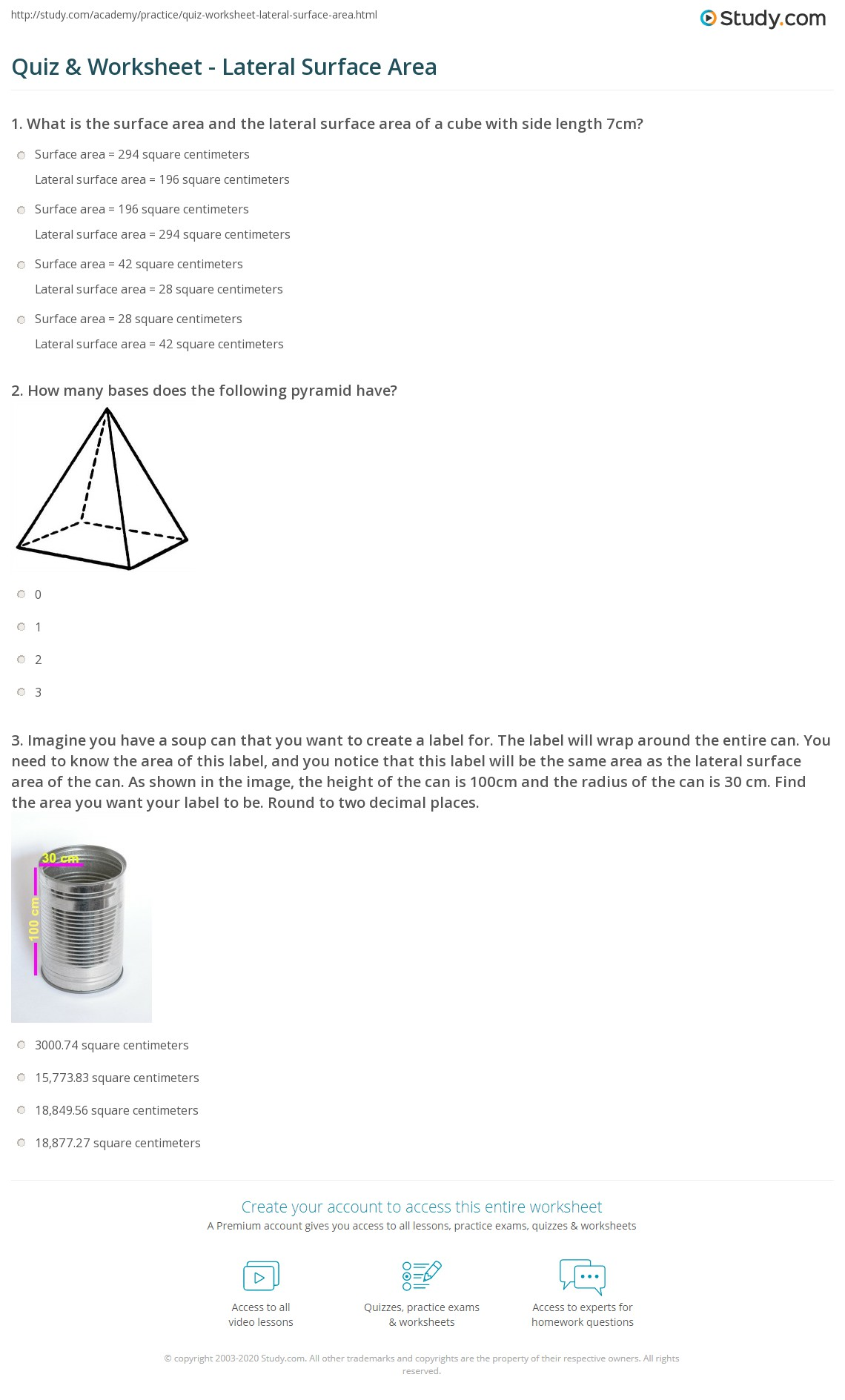 Worksheet Surface Area Of Cylinders Worksheet Worksheet