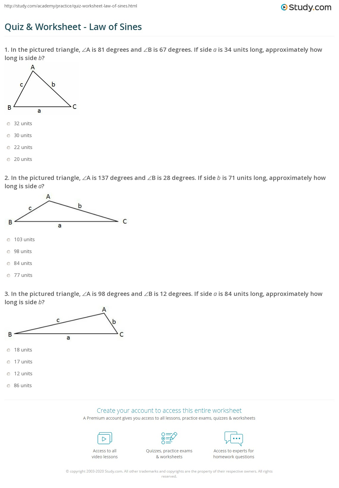 Lesson 12 3 The Law Of Sines Worksheet Answers