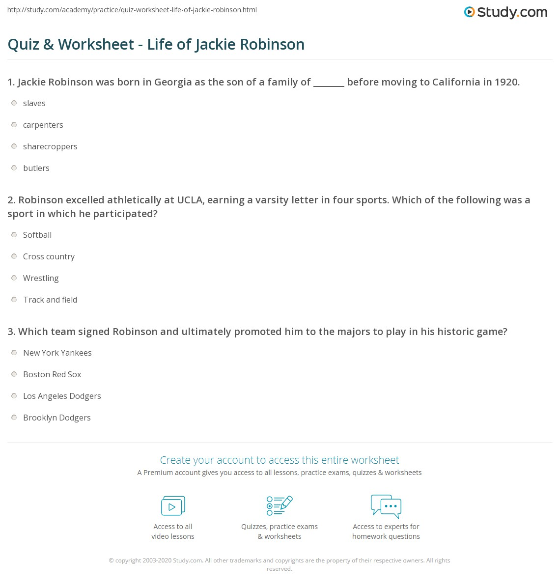Jackie Robinson Worksheets Photos