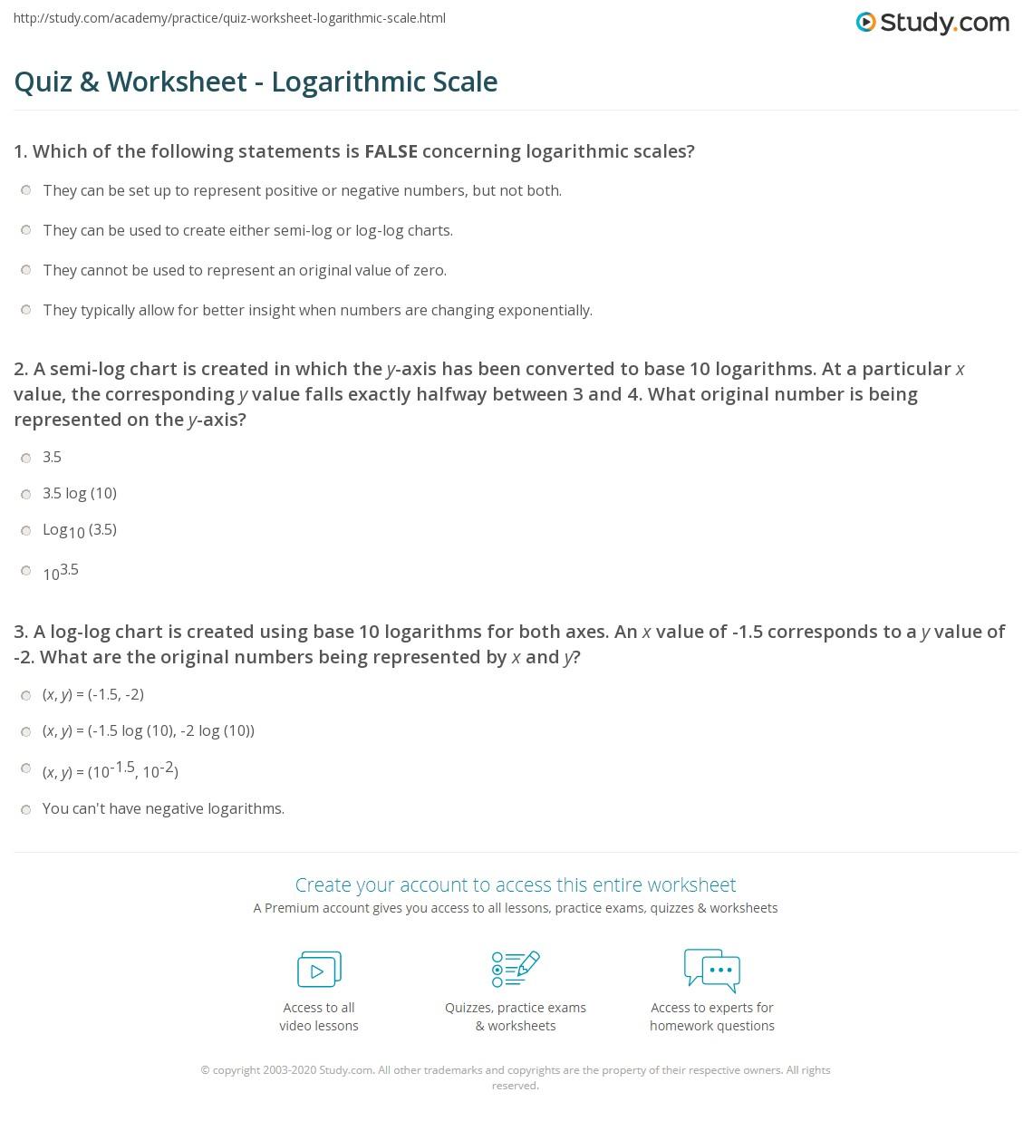 Logarithms Practice Worksheet