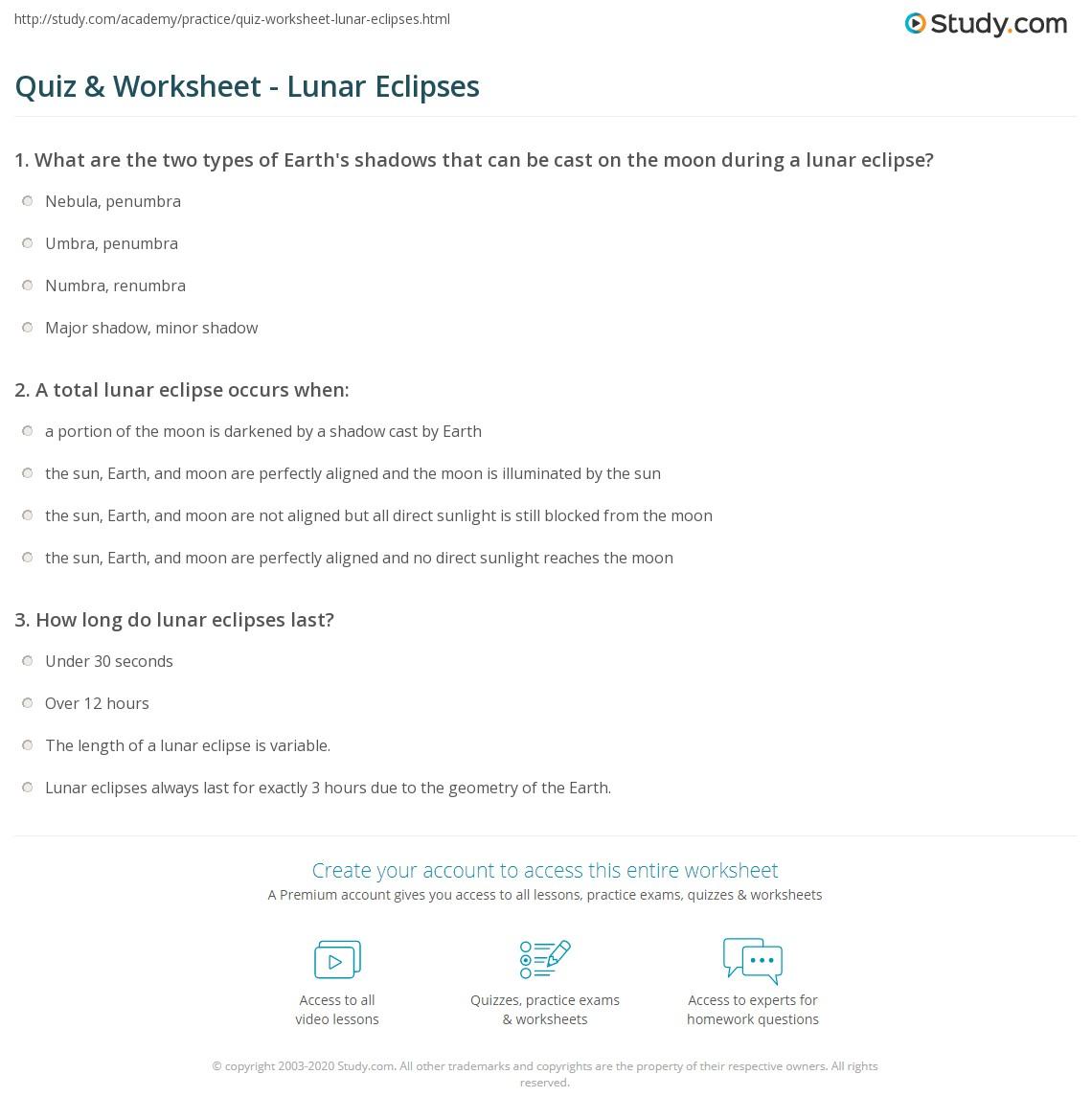 Moon Eclipse Worksheet Gallery