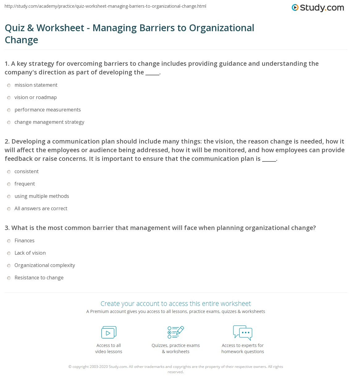 Managing Change Worksheet
