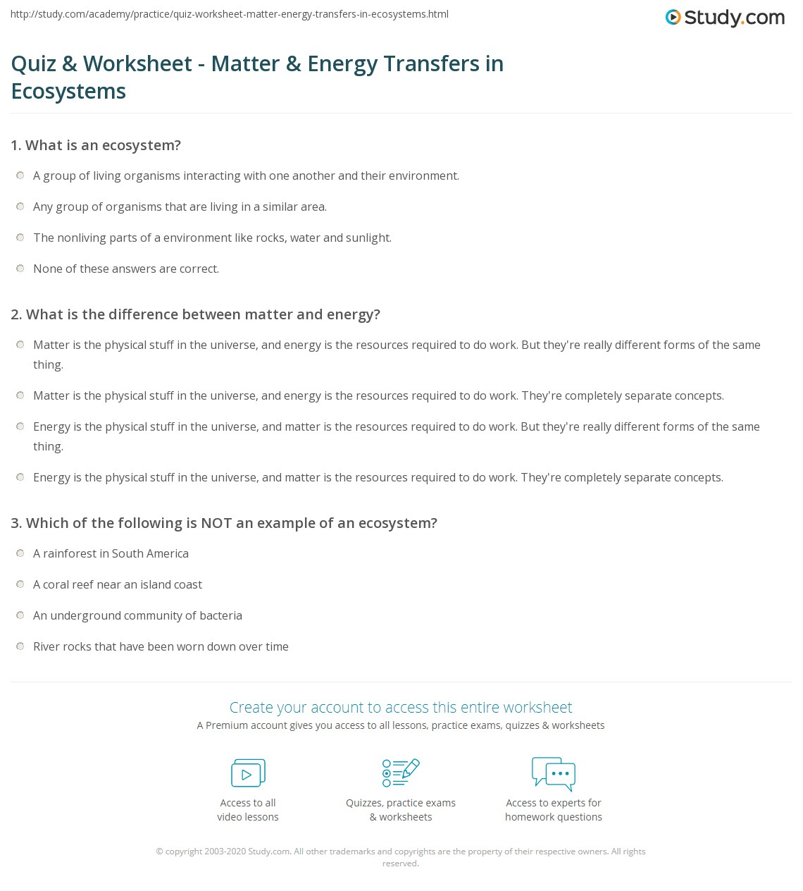 Energy Ecosystems Worksheet Answers