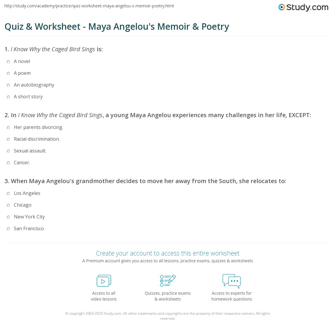 Maya Angelou Worksheet Answers