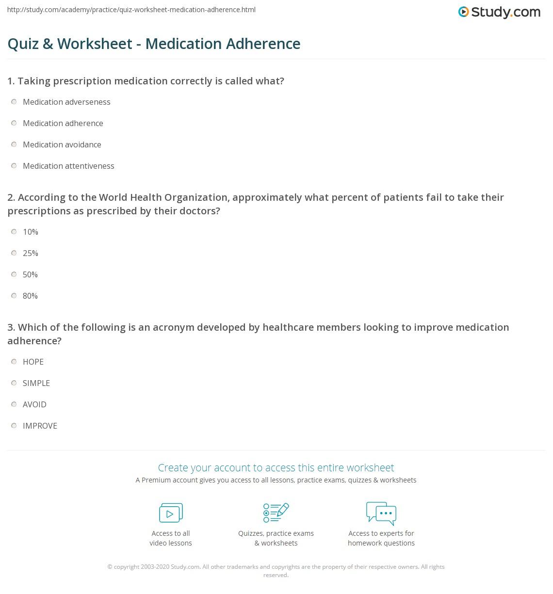 Medication Worksheet For Patients