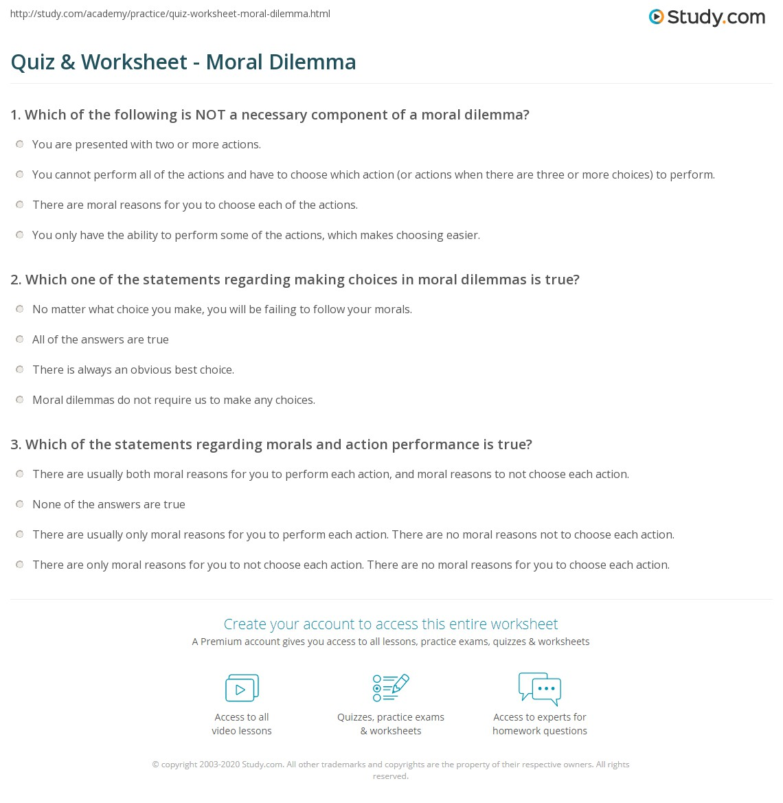 Ethical Dilemma Decision Making Worksheet