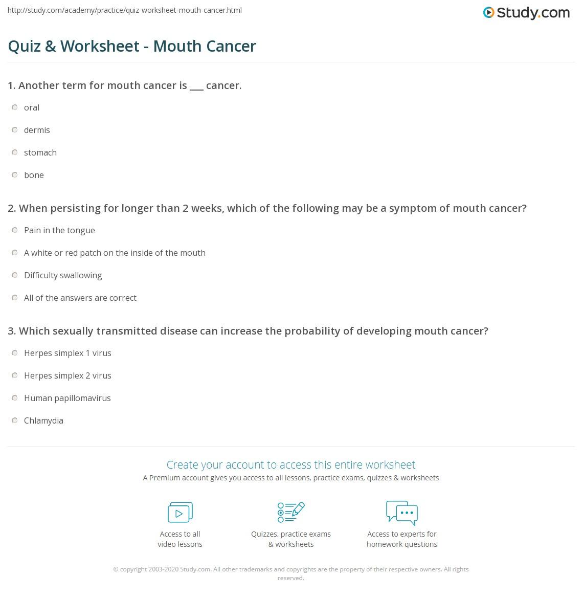 Worksheet Mouth Cancer