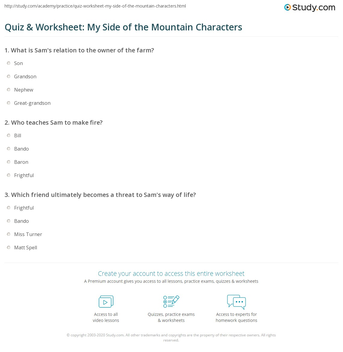 Quiz Amp Worksheet My Side Of The Mountain Characters
