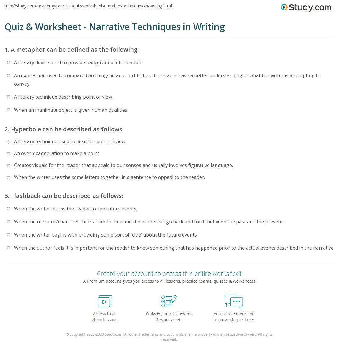 Worksheet On Narrative Tenses